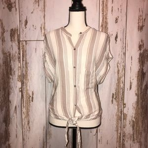 Olivaceous striped tie up blouse